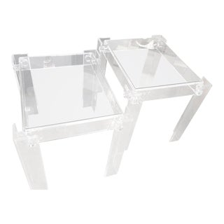 Vintage Lucite Glass Top End Side Tables - a Pair For Sale