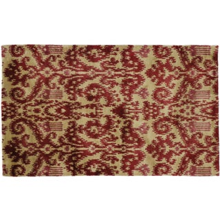 "Modern Red Ikat Rug - 3'1"" x 4'11"" For Sale"