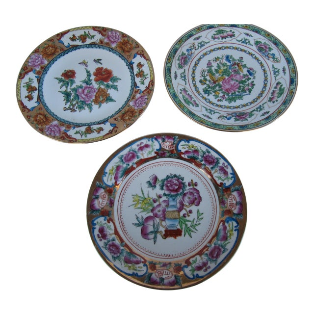 Decorative Chinoiserie Wall Plates- 3 Pieces For Sale