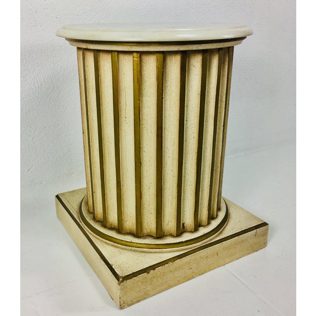 White Carrera Top Column Side Table For Sale In Philadelphia - Image 6 of 10