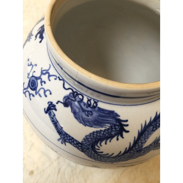Antique Chinese Blue and White Dragon Urn/Vase For Sale - Image 4 of 8