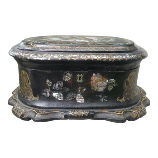 Large Victorian Papier Mache Mother of Pearl Lidded Box For Sale