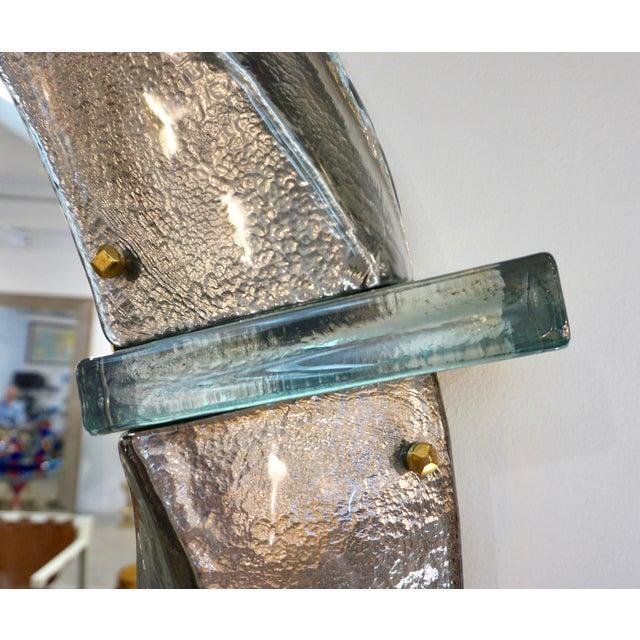 Italian Contemporary Bespoke Black Silver & Aqua Murano Glass Brass Round Mirror For Sale - Image 4 of 12