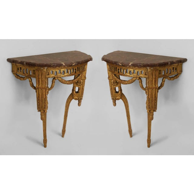 Neoclassical Pair of Late 18th Century Italian Neoclassical Bracket Console Tables For Sale - Image 3 of 3