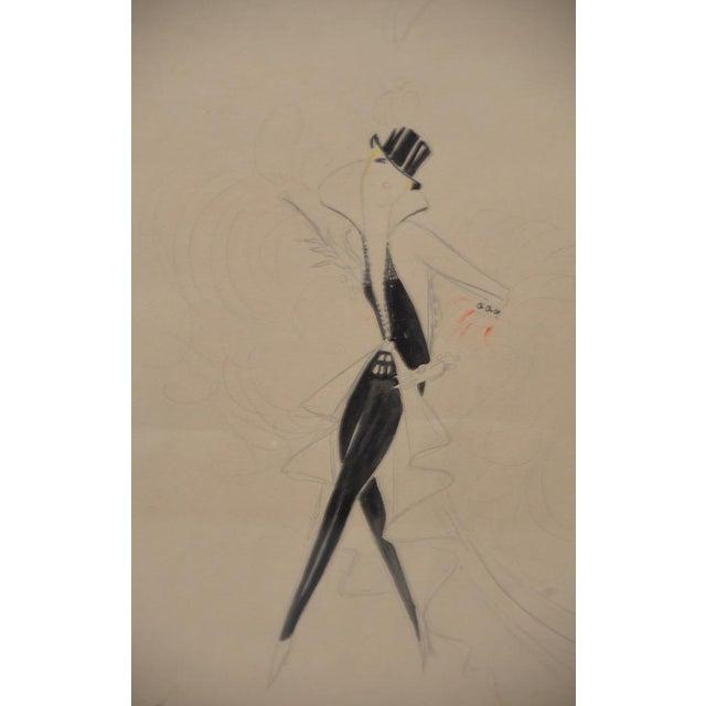 Vintage Art Deco Fashion Original Illustration by Jesmar C.1925 For Sale In San Francisco - Image 6 of 8