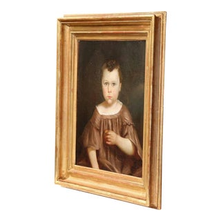 Early 19th Century French Oil Portrait Painting in Gilt Frame For Sale