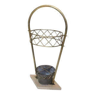 1950s Italian Mid-Century Modern Gio Ponti Style Brass and Marble Umbrella Stand For Sale