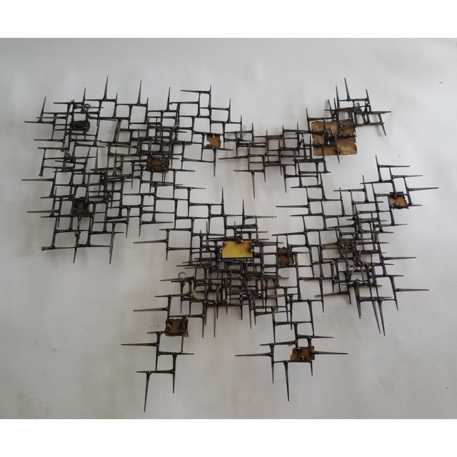 Abstract Brutalist Metal Wall Sculpture of Bronze and Brass - Image 8 of 8