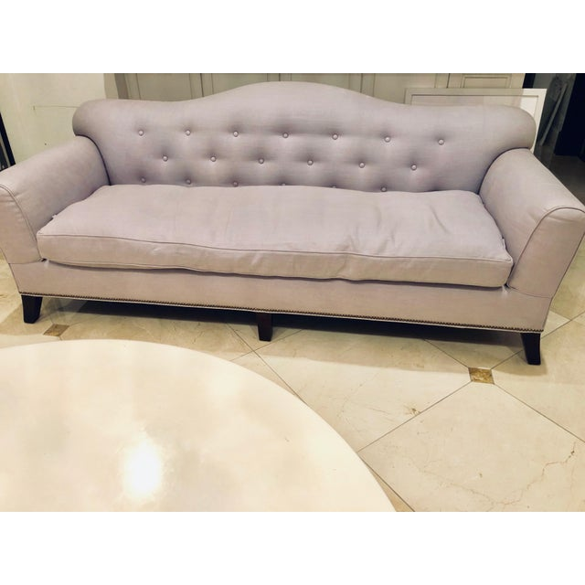 This gorgeous, custom sofa was inspired by French style icon Daniel De Falaise. It is incredibly well made ... every...