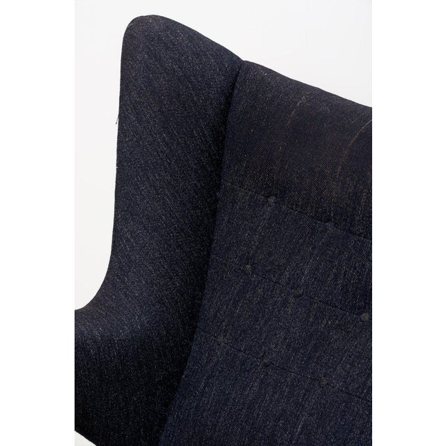 Hans J. Wegner Papa Bear Chair in Black Fabric For Sale - Image 9 of 10