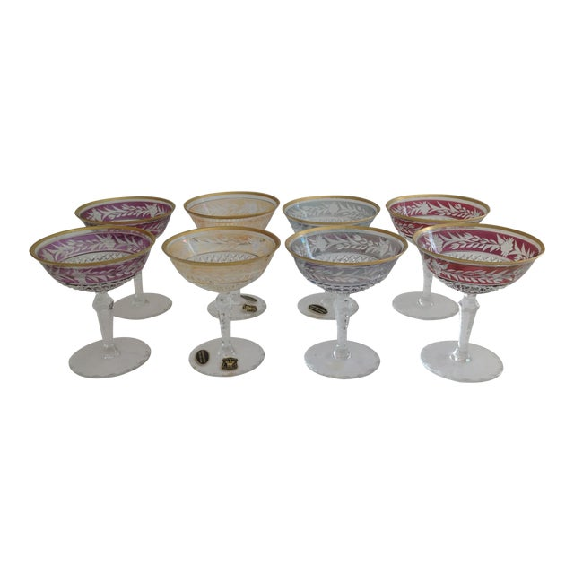 Ebeling-Reuss Cut Crystal Coupe Champagne Glasses - Set of 8 - Image 1 of 7