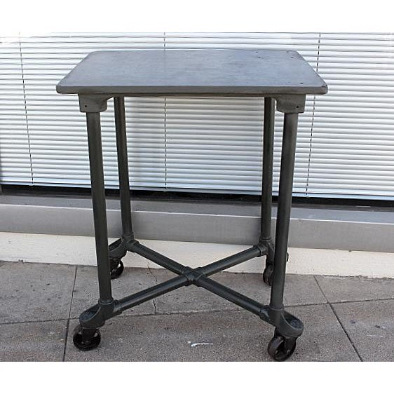 "Industrial Steel ""Turtle"" Table with Removable Top For Sale - Image 4 of 4"