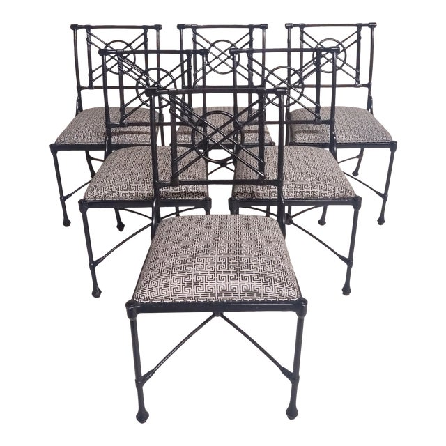 1960s Vintage Black Patio Chairs in Decorator Fabric - Set of 6 For Sale