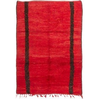 Midcentury Moroccan Berber Red and Brown Wool Rug With Transitional Style For Sale