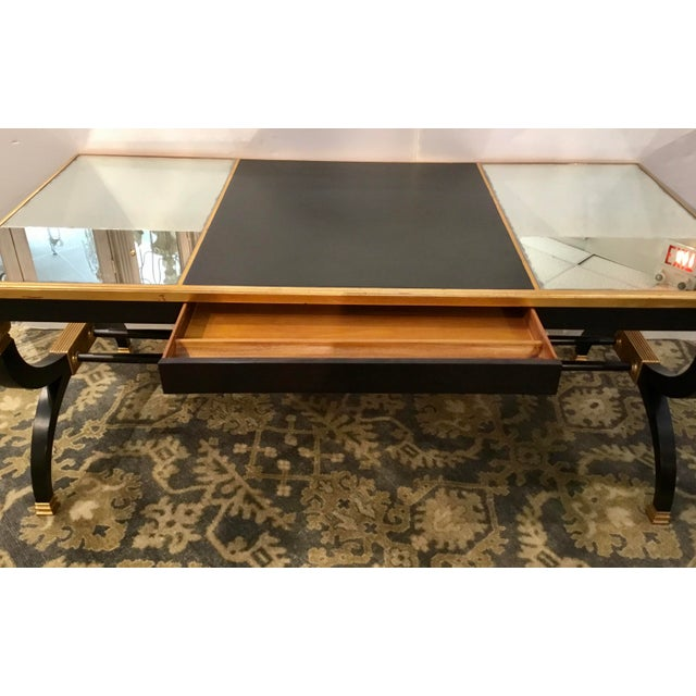 Transitional Lillian August for Hickory White Black and Gold Ziecel Writing Desk For Sale - Image 9 of 11