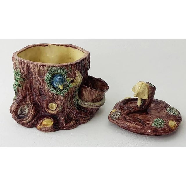 Late 19th Century 19th Century Victorian Majolica Palissy Tobacco Jar For Sale - Image 5 of 6