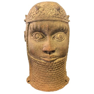 """Superb Large Ife Clay / Terracotta Oba Head Edo People Nigeria African 13"""" H Preview"""
