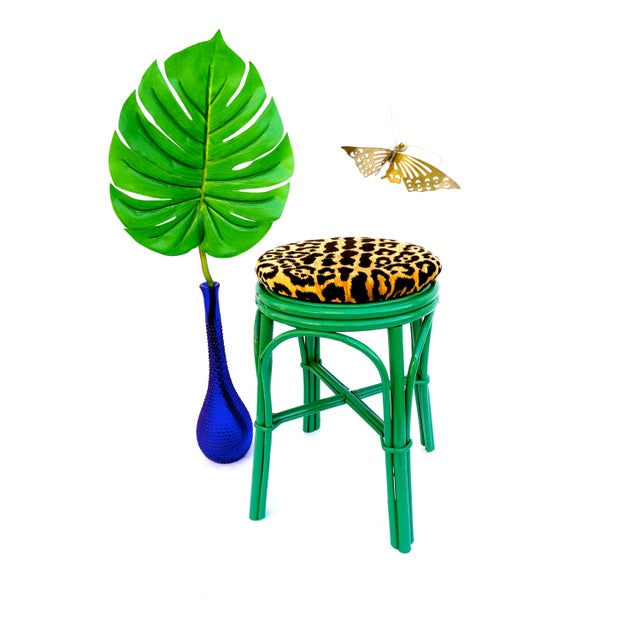 Bamboo Vintage Emerald Green & Leopard Velvet Rattan Bamboo Accent Stool For Sale - Image 7 of 12
