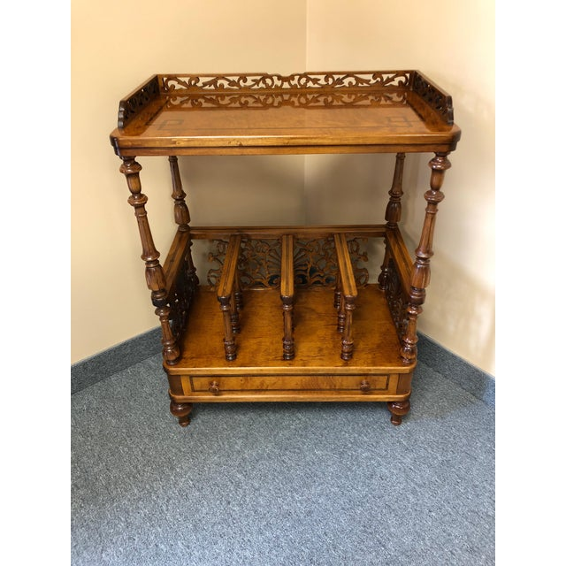 Mobili Burl Canterbury and Console With Carved Fretwork For Sale - Image 12 of 12