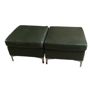 Vintage Mid Century Leather Ottoman- A Pair For Sale