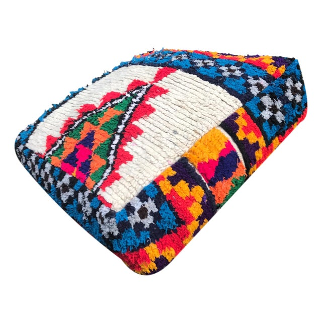 Abstract Vintage Moroccan Rug Floor Cushion Pillow - Image 5 of 5