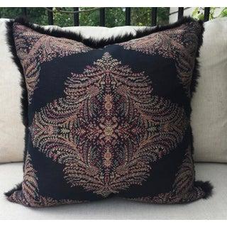 Ralph Lauren Black Paisley Fabric With Fur Pillow Preview