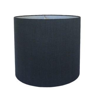 Medium Navy Linen Custom Drum Shade For Sale