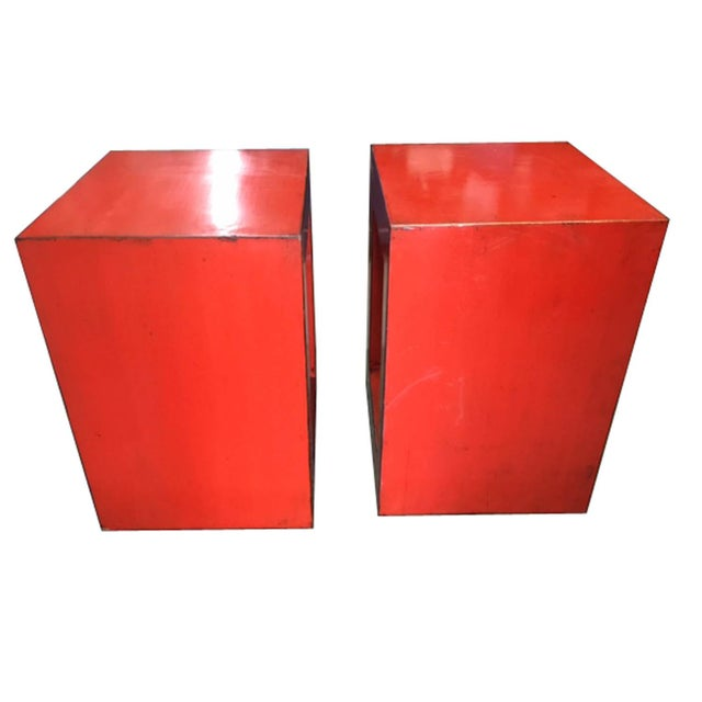 Red-Orange Contemporary Open Side Table For Sale In San Francisco - Image 6 of 6