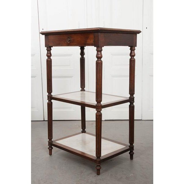 French 19th Century Louis XVI-Style Oak and Marble Three-Tier Etagère For Sale - Image 9 of 13