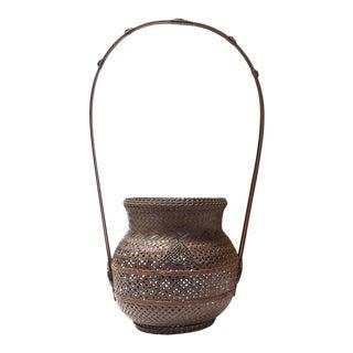 Hanakago Japanese Bamboo Ikebana Flower Basket For Sale