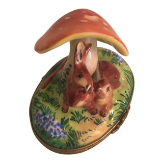 Limoges Bunnies Under Mushroom Box For Sale