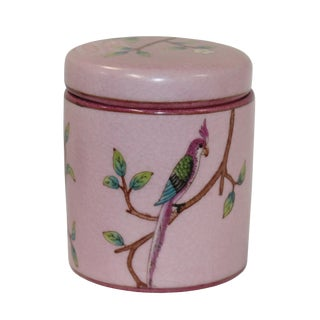 Handmade Chinese Bird and Flowers Painting Small Porcelain Container Jar Box For Sale
