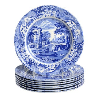 Spode Blue Italian Luncheon Plate - Set of 8 For Sale