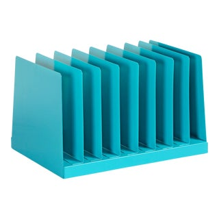 Retro Office Mail Organizer/ Magazine Rack Refinished in Turquoise For Sale
