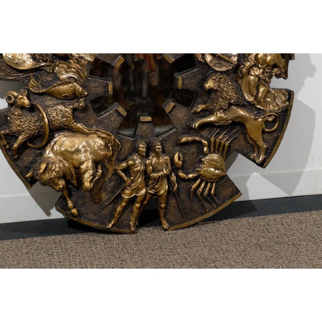 1970s Dramatic Brutalist Zodiac Mirror For Sale - Image 5 of 8