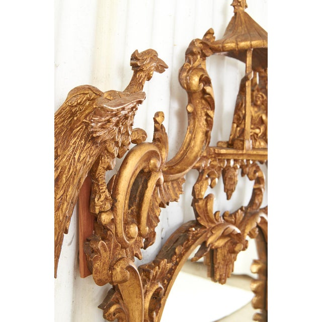 Gold Pair of Chinese Chippendale Style Pagoda Mirrors With Ho Ho Birds For Sale - Image 8 of 13