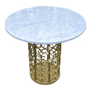 W & Z Italy MCM Hollywood Regency White Marble Top & Pierced Gold Pedestal Table For Sale