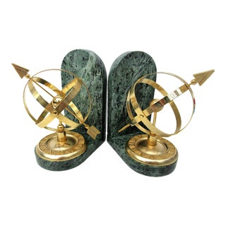 Vintage Brass Armillary Globes Bookends- a Pair For Sale