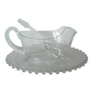 1950s Candlewick Sauce Boat & Plates For Sale