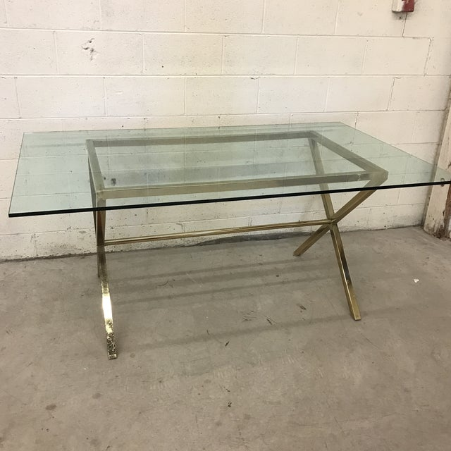 Contemporary Brass & Glass Dining Desk Table For Sale - Image 11 of 11