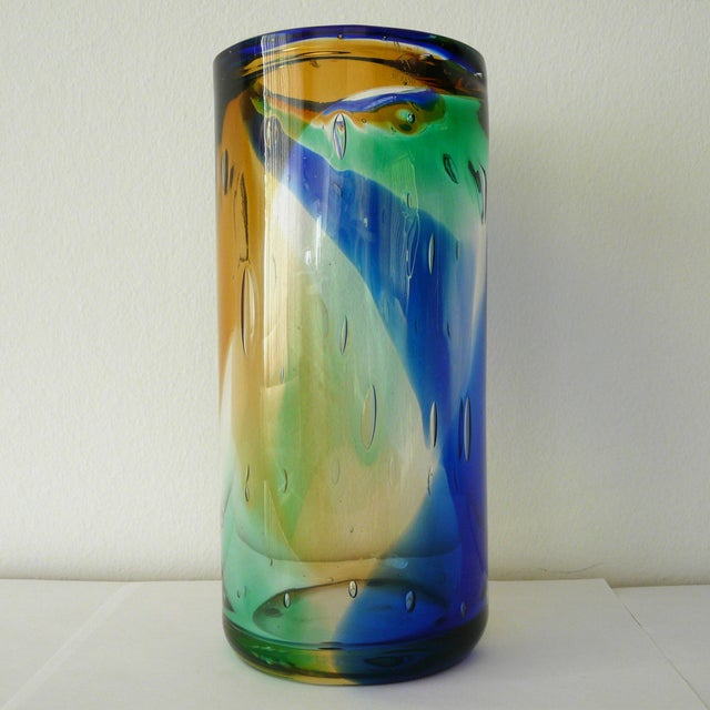 Italian Murano Blue Amber Green Cylinder Vase by Camozzo For Sale - Image 3 of 7