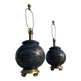 Oriental Glass and Brass Table Lamps by Chapman - a Pair For Sale