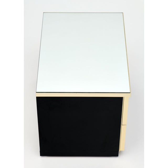 Modernist Mirror Top Black Lacquered Side Tables - a Pair For Sale - Image 4 of 10