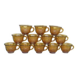 Vintage Indiana Harvest Grape Amber Carnival Glass Set of 12 Punch Cups With Box - Set of 13 For Sale