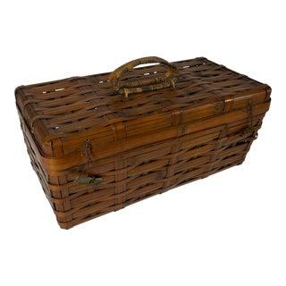 Vintage Rustic Wood Splint Rectangular Woven Basket For Sale