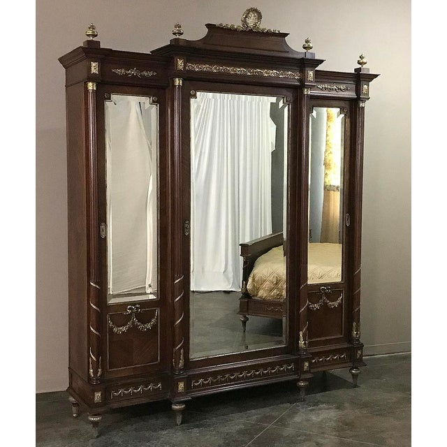 19th Century French Louis XVI Mahogany Armoire With Ormolu For Sale - Image 13 of 13