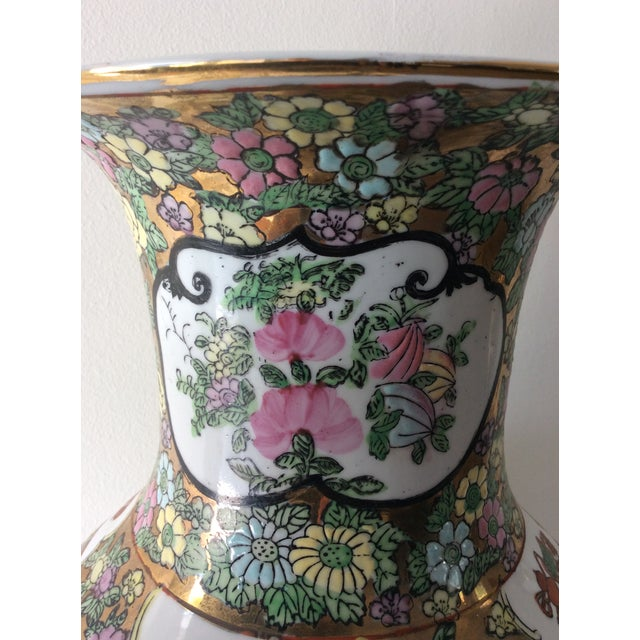 Green Famille Rose Medallion Style Porcelain Vase For Sale - Image 8 of 11