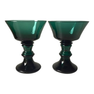Antique Hand-Blown Teal Glass Coupe Goblets-A Pair For Sale