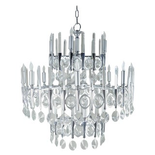 Gaetano Sciolari Large Three-Tier Modernist Crystal Chandelier, Italy, 1960s