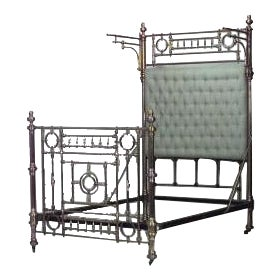 Dramatic 19th Century American Full Sized Brass Bed For Sale